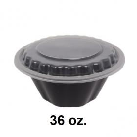 HT 36 oz. Round Black Plastic Bowl Set - 150/Case